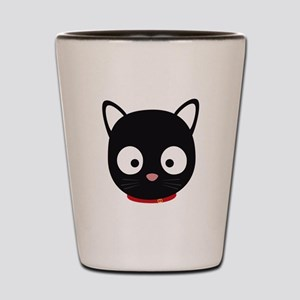 Cute black cat with red collar Shot Glass
