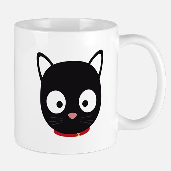 Cute black cat with red collar Mugs