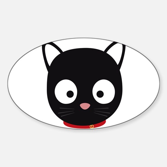 Cute black cat with red collar Decal