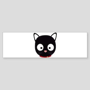 Cute black cat with red collar Bumper Sticker