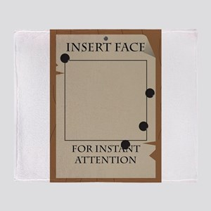 Insert Face Wanted Poster Throw Blanket
