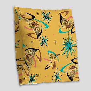 Mid Century Modern Pattern Burlap Throw Pillow