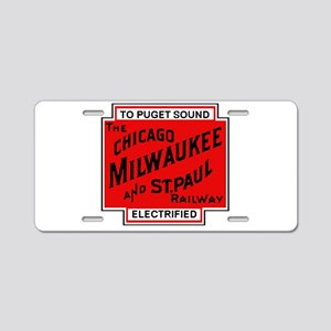 Milwaukee Road Puget Sound Aluminum License Plate