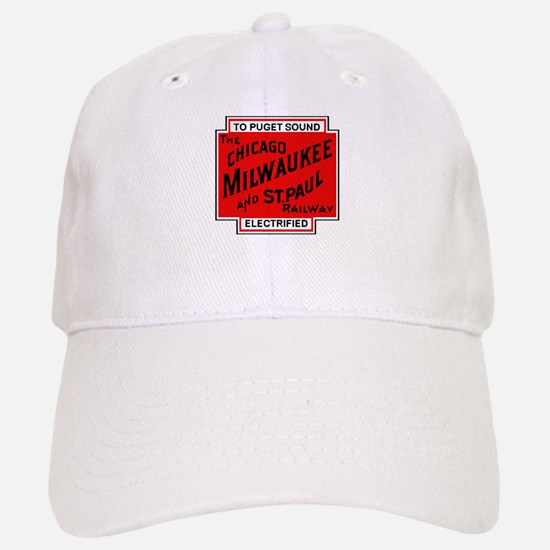 Milwaukee Road Puget Sound Railway design red Baseball Baseball Cap