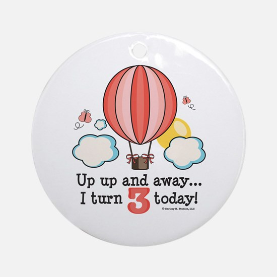 Third 3rd Birthday Hot Air Balloon Ornament (Round