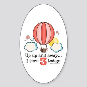 Third 3rd Birthday Hot Air Balloon Oval Sticker