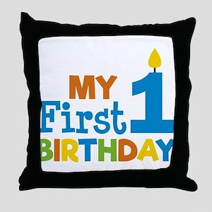 Boy's My First Birthday Throw Pillow