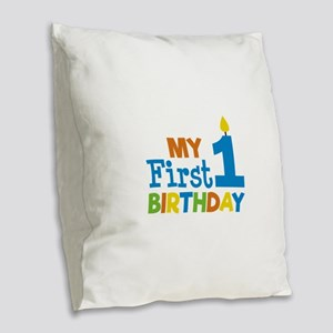 Boy's My First Birthday Burlap Throw Pillow