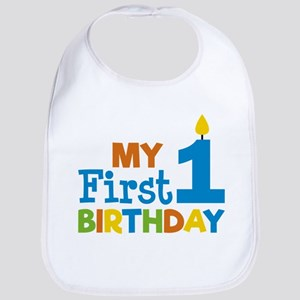 Boy's My First Birthday Baby Bib