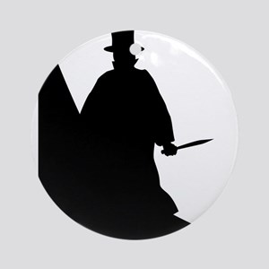 Jack the Ripper Background Silhouet Round Ornament