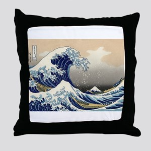 The Great Wave by Hokusai Throw Pillow