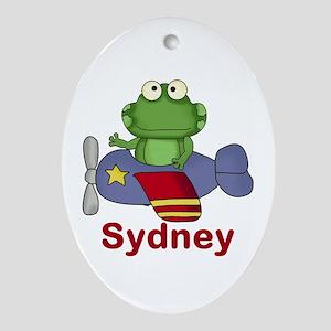 Sydney's Flying Frog Oval Ornament