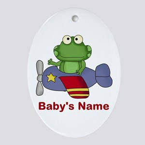 Baby's Flying Frog Oval Ornament