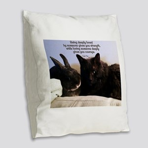 Being Deeply Loved Burlap Throw Pillow