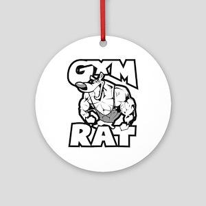 Gym Rat b/w Round Ornament