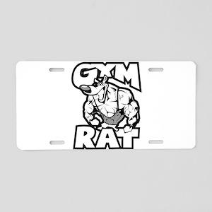 Gym Rat b/w Aluminum License Plate