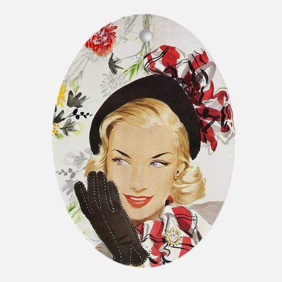 Vintage Blonde Oval Ornament