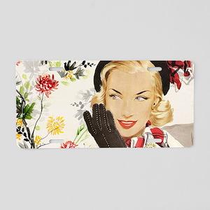 Vintage Blonde Aluminum License Plate