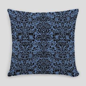DAMASK2 BLACK MARBLE & BLUE DENIM Everyday Pillow