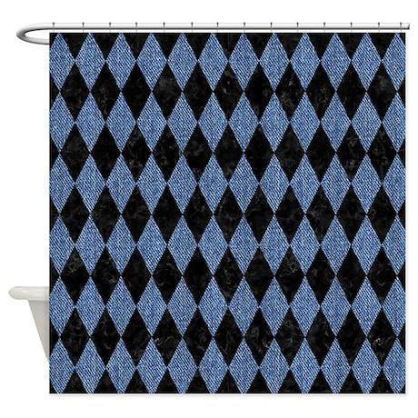DIAMOND1 BLACK MARBLE U0026 BLUE DENIM Shower Curtain
