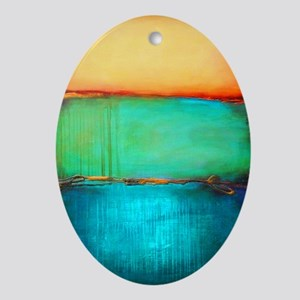 ROTHKO YELLOW GREEN TURQUOISE Oval Ornament