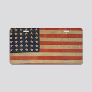 Vintage U.S. Flag (36 Star) Aluminum License Plate