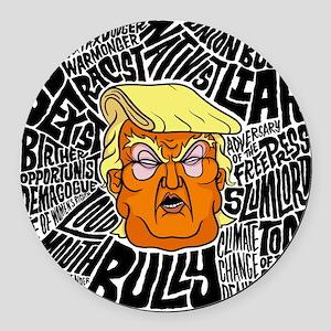 Trump Slurs Round Car Magnet