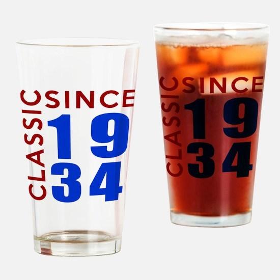 Classic Since 1934 Birthday Designs Drinking Glass