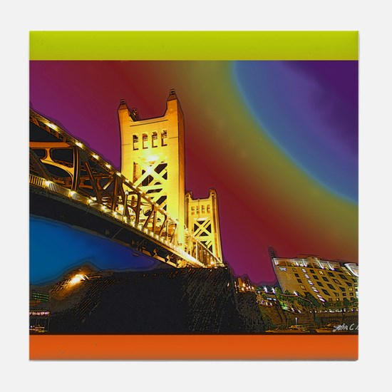Sacramento bridge Tile Coaster