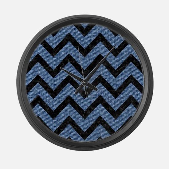 CHEVRON9 BLACK MARBLE & BLUE DENI Large Wall Clock