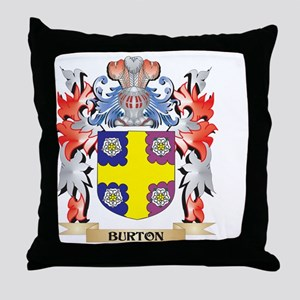 Burton Coat of Arms - Family Crest Throw Pillow