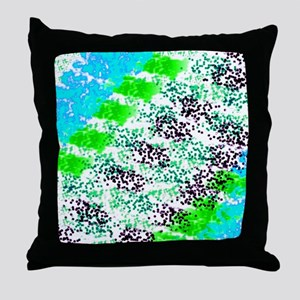 Sponge Print Green/Teal/Black Throw Pillow