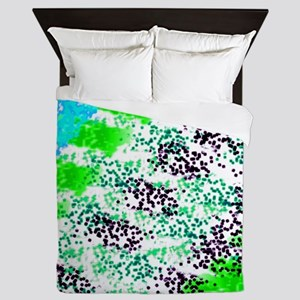 Sponge Print Green/Teal/Black Queen Duvet