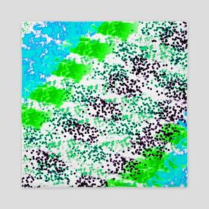 Sponge Print Green/Teal/Black Queen Duvet