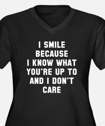 I smile beca Women's Plus Size V-Neck Dark T-Shirt