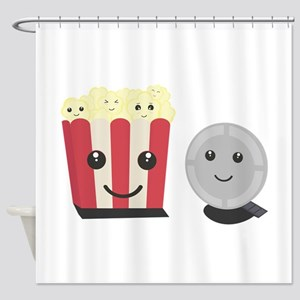 Cinema movie pocorn with faces Shower Curtain