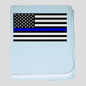 Blue Lives Matter US Flag Police Thin baby blanket