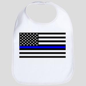 Blue Lives Matter US Flag Police Thin Blu Baby Bib