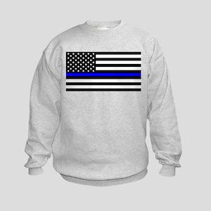 Blue Lives Matter US Flag Police Thin B Sweatshirt