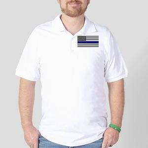 Blue Lives Matter US Flag Police Thin B Golf Shirt