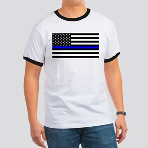 Blue Lives Matter US Flag Police Thin Blue T-Shirt