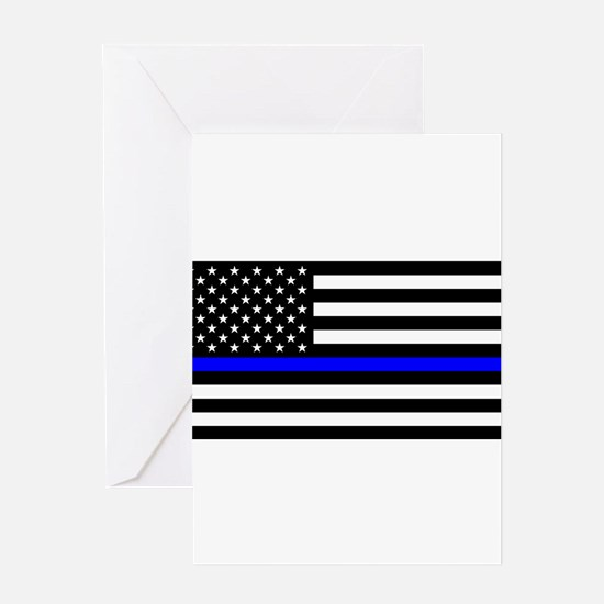 Blue Lives Matter US Flag Police Th Greeting Cards