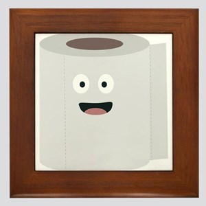 Toilet paper with face Framed Tile