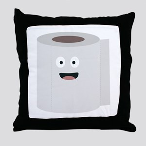 Toilet paper with face Throw Pillow