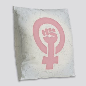 Feminist Fist Burlap Throw Pillow