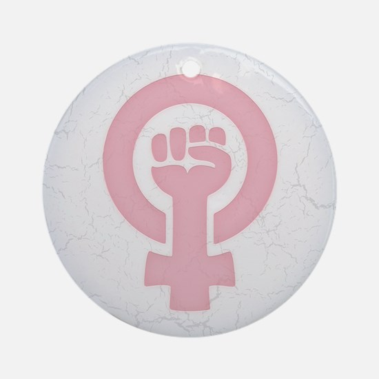 Feminist Fist Round Ornament