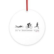 It's Business Time Triathlon Ornament (Round)