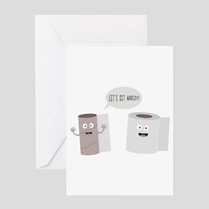 Toilet roll tissue cartoon Greeting Cards