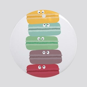 Colorful macarons with eyes Round Ornament