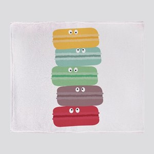 Colorful macarons with eyes Throw Blanket